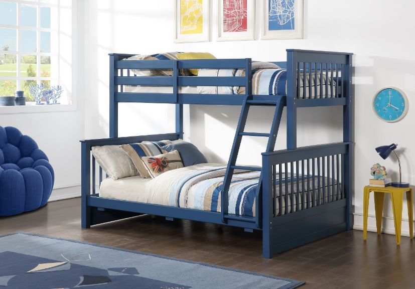 Acme 37865 Harriet bee haley II french navy blue finish wood twin over full bunk bed set