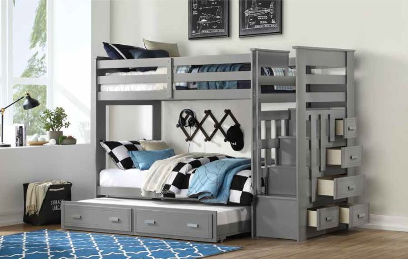 Acme 37870 Harriet beee fulda allentown gray finish wood twin over twin bunk bed set storage drawer steps trundle