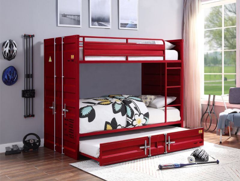 Acme 37910 2 pc Transport cargo red metal Twin over twin bunk bed set