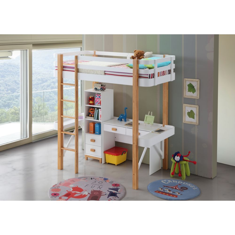 Acme 37970-74-75 Zoomie kids jeremiah rutherford white and natural finish wood twin size loft bed desk and shelves