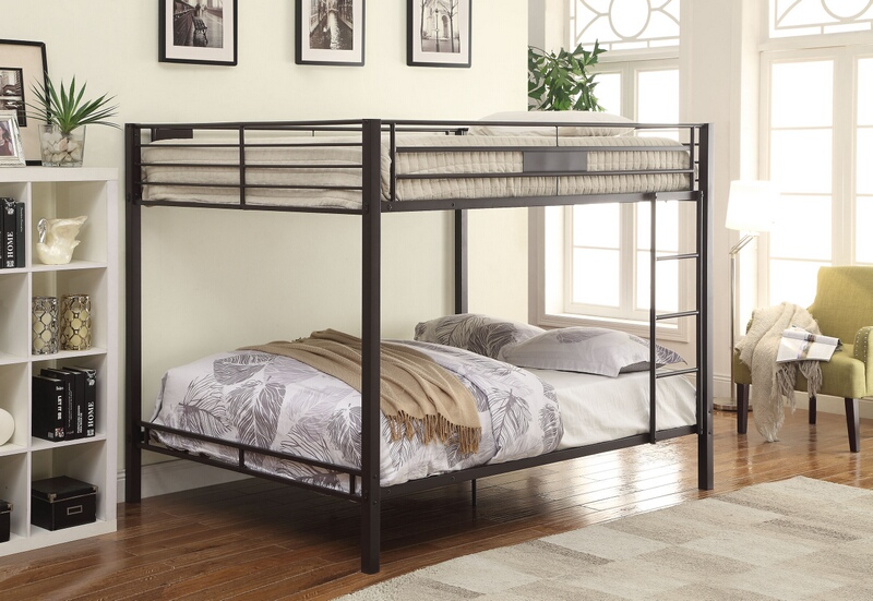 ACM38015 Kaleb collection black sand finish metal frame queen over queen bunk bed set