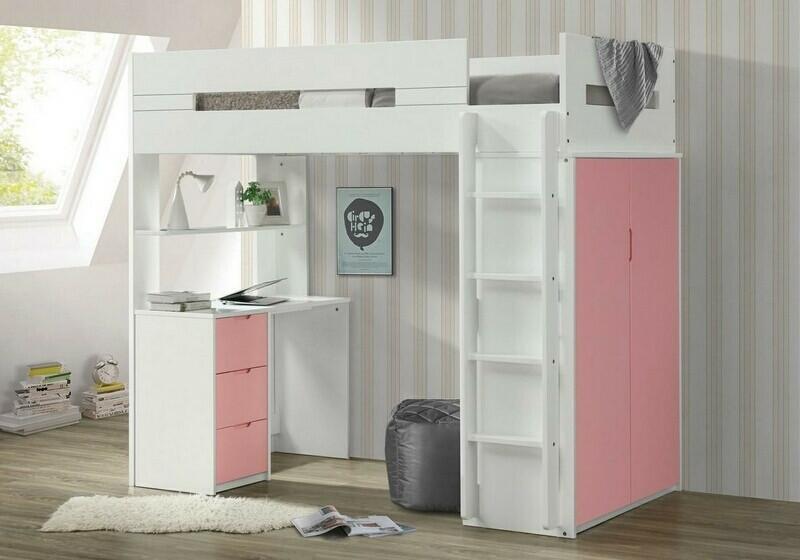 Acme 38040 Mack & Milo abinash nerice white / pink finish wood loft bunk bed set desk drawers armoire