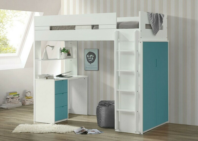 Acme 38045 Mack & Mile abinash nerice white / teal finish wood loft bunk bed set desk drawers armoire
