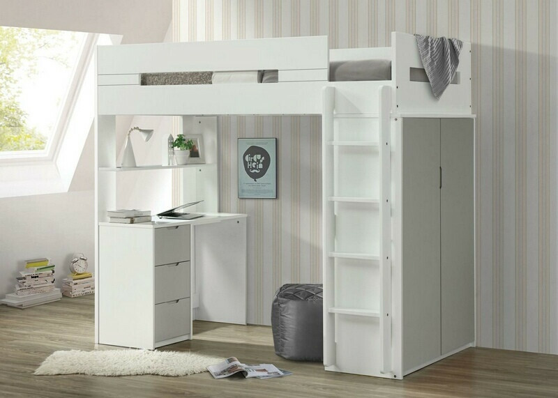 Acme 38050 Mack & Milo abinash nerice white / gray finish wood loft bunk bed set desk drawers armoire