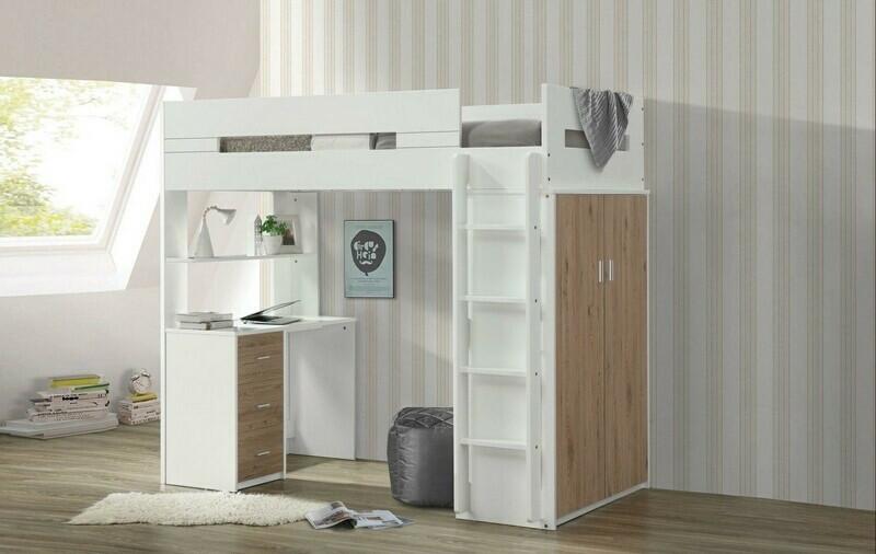 Acme 38055 Mack & Milo abinash nerice white / oak finish wood loft bunk bed set desk drawers armoire