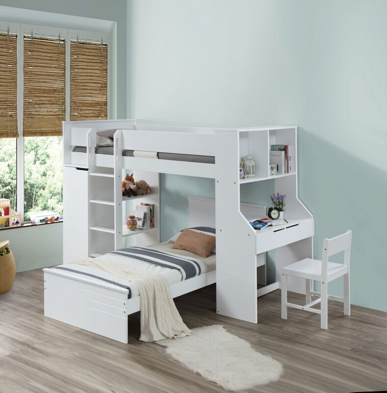 Acme 38060 Ragna white finish wood twin loft bed with desk and drawers