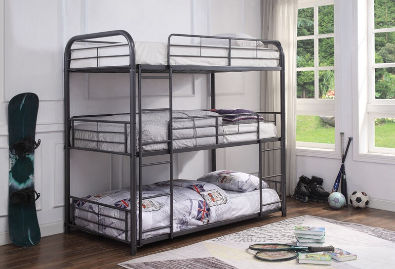 Acme 38090 Zoomie kids bunce cairo gunmetal finish metal triple twin bunk bed set