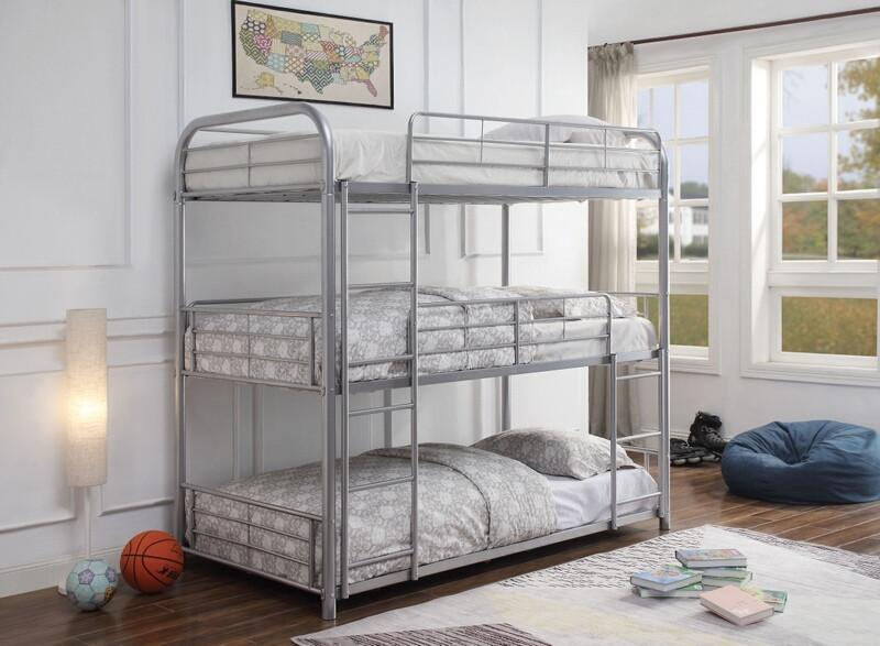 Acme 38100 Zoomie kids bunce cairo silver finish metal triple twin bunk bed set