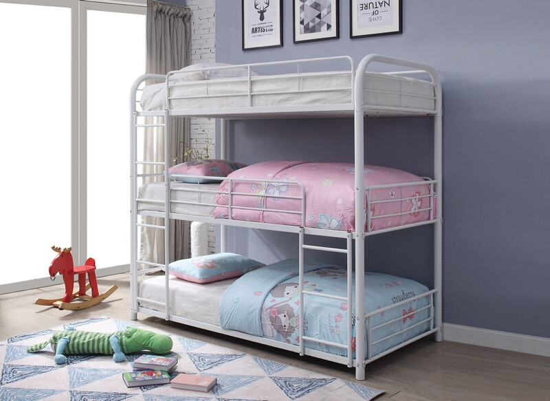 Acme 38115 Zoomie kids bunce cairo white finish metal triple full bunk bed set