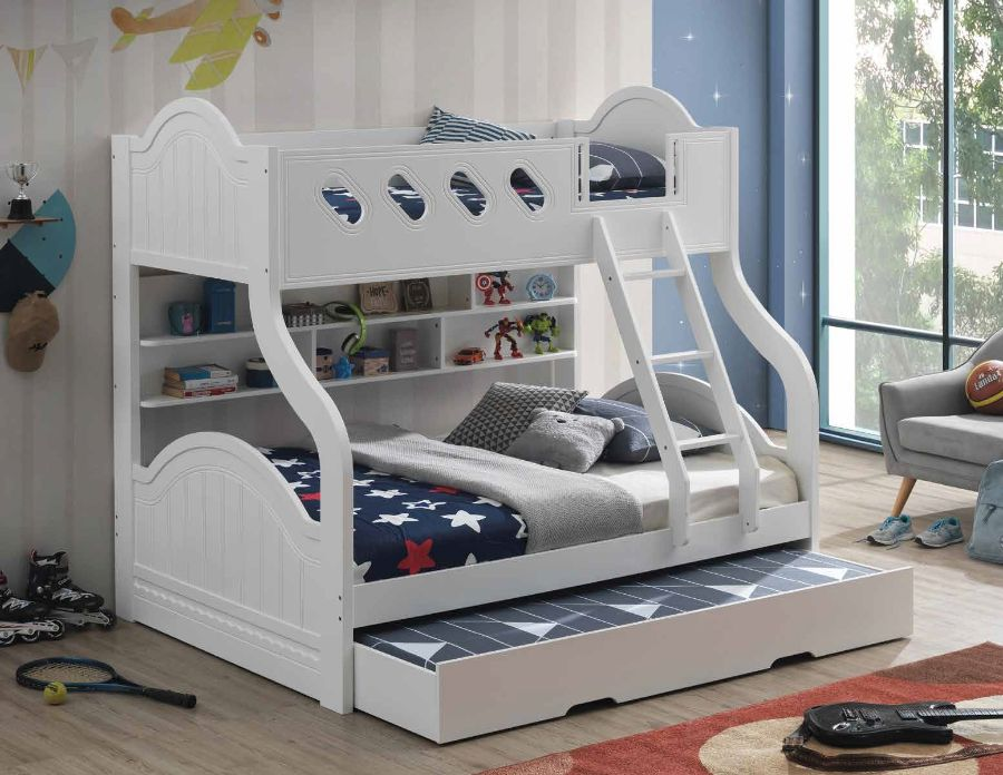 Acme 38160 Grover white finish wood Twin over full bunk bed set with storage shelves