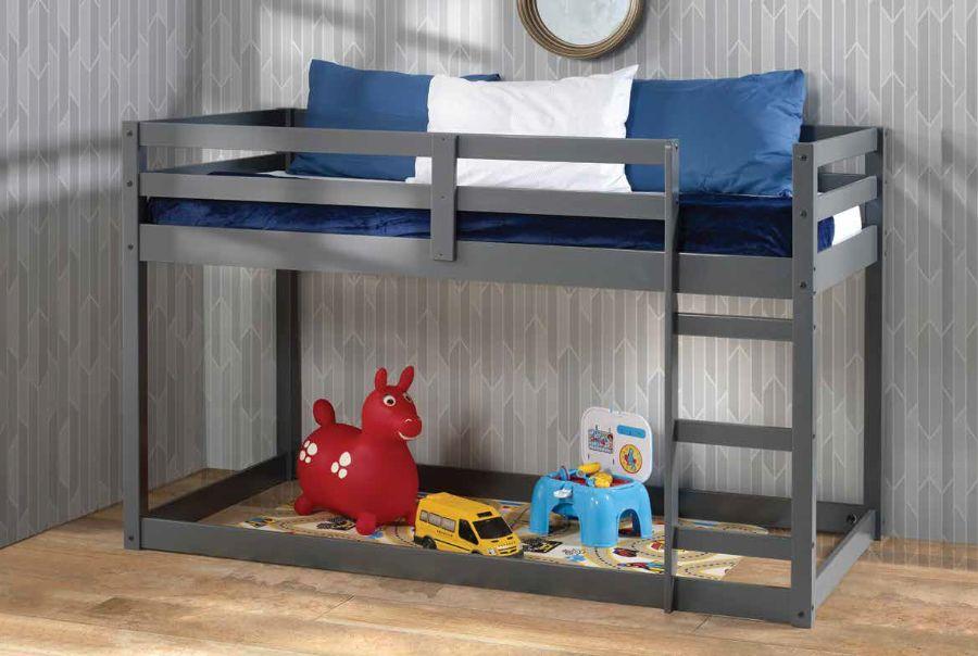 Acme 38180 Harriet bee kohen gaston gray finish wood twin loft bed with lower play area