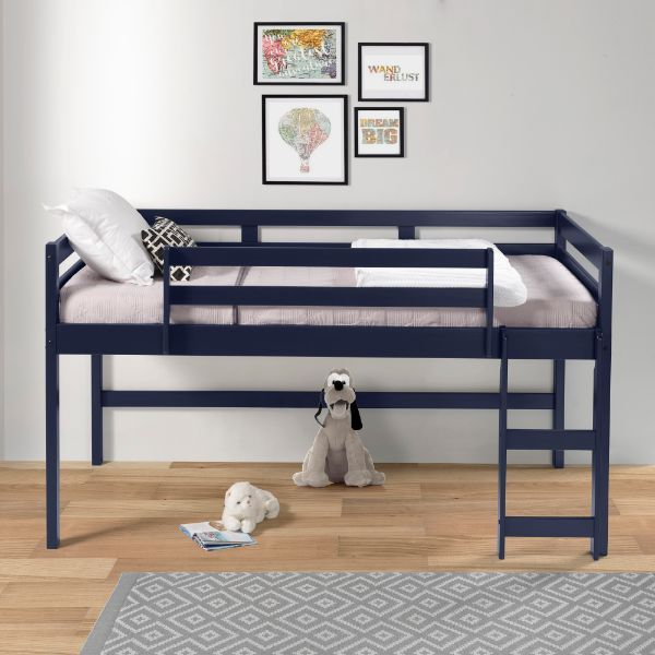 Acme 38260 Harriet bee rohan navy blue finish wood playhouse style twin loft bed