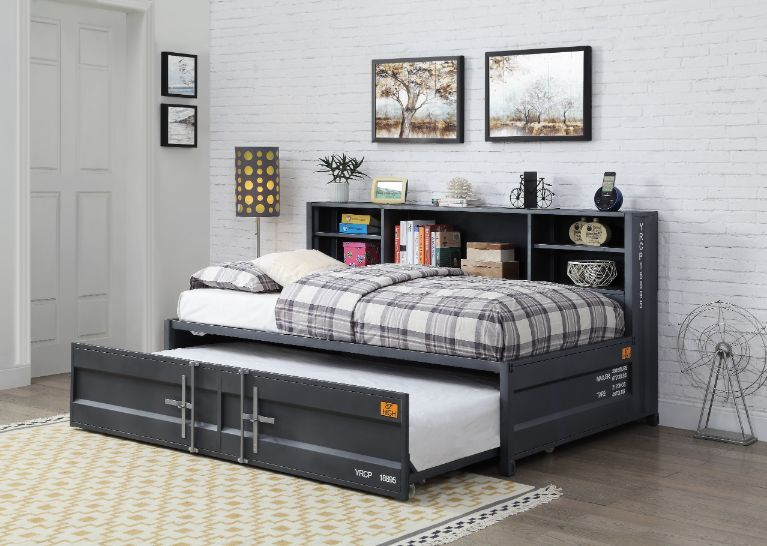 Acme 38270 Wildon home cargo container style twin gunmetal finish metal day bed with storage headboard and trundle