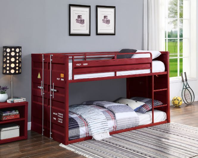 Acme 38280 Wildon home cargo container style twin over twin red metal bunk bed