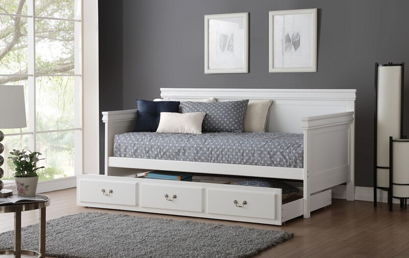 Acme 39100-02 Bailee white finish wood twin day bed with pull out twin trundle
