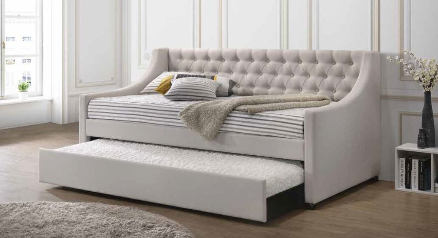 Acme 39395 Alcott hill armijo lianna fog gray fabric day bed with pull out trundle