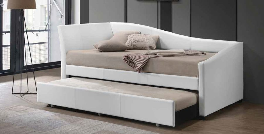 Acme 39400 Latitude run maywood jedda white faux leather day bed with pull out trundle