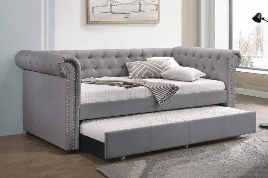 Acme 39405 Baxton studio mabelle justice smoked gray fabric nail head trim twin day bed with trundle