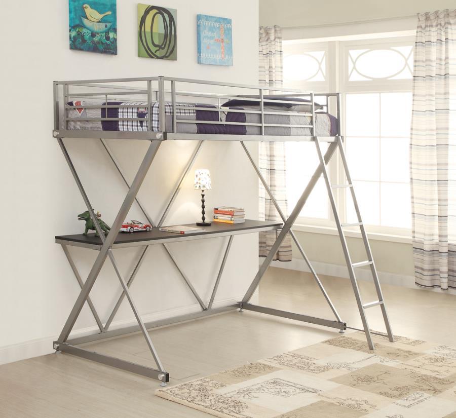 400034T Zoomie kids west bridgewater silver finish metal twin loft student bunk bed set
