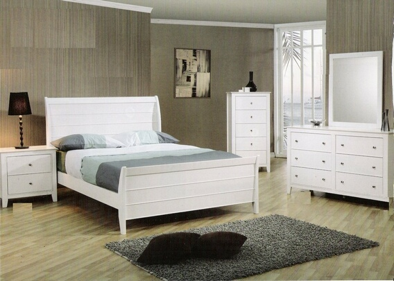 400231T 5 pc Kelly Twin size white finish wood sleigh bedroom set