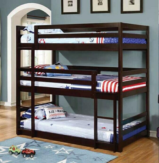 CST400302 Triple twin collection espresso finish wood triple twin over twin over twin bunk beds