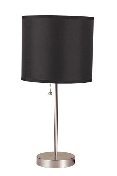 ACM40044 Vassy brushed steel finish table lamp with Basic black cylindrical lamp shade