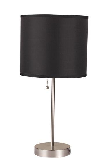 ACM40044 Vassy brushed steel finish table lamp with basic black cylindrical lamp shade