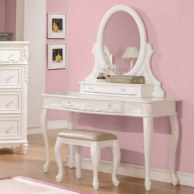 400726-27-28 3 pc Wildon home caroline white finish wood bedroom make up vanity sitting table set with mirror