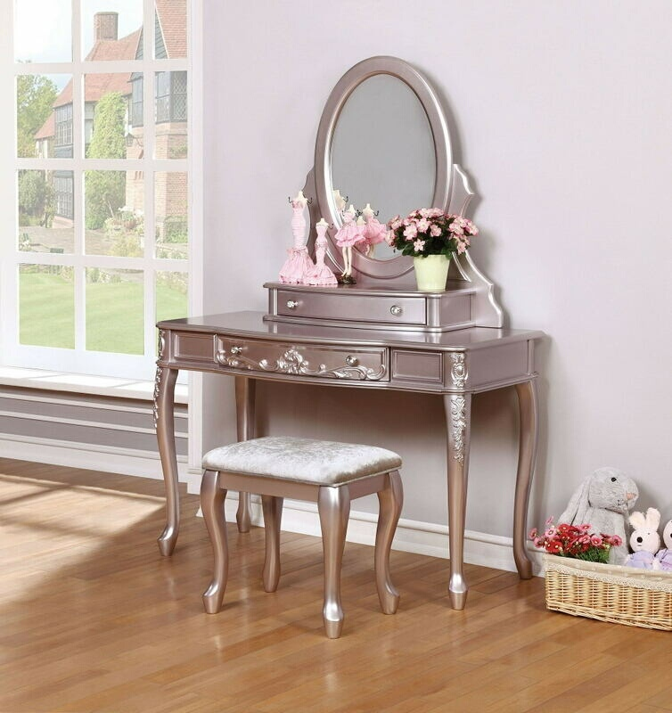 CST400896-97-98 3 pc Caroline collection metallic lilac finish wood bedroom make up vanity sitting table set with mirror