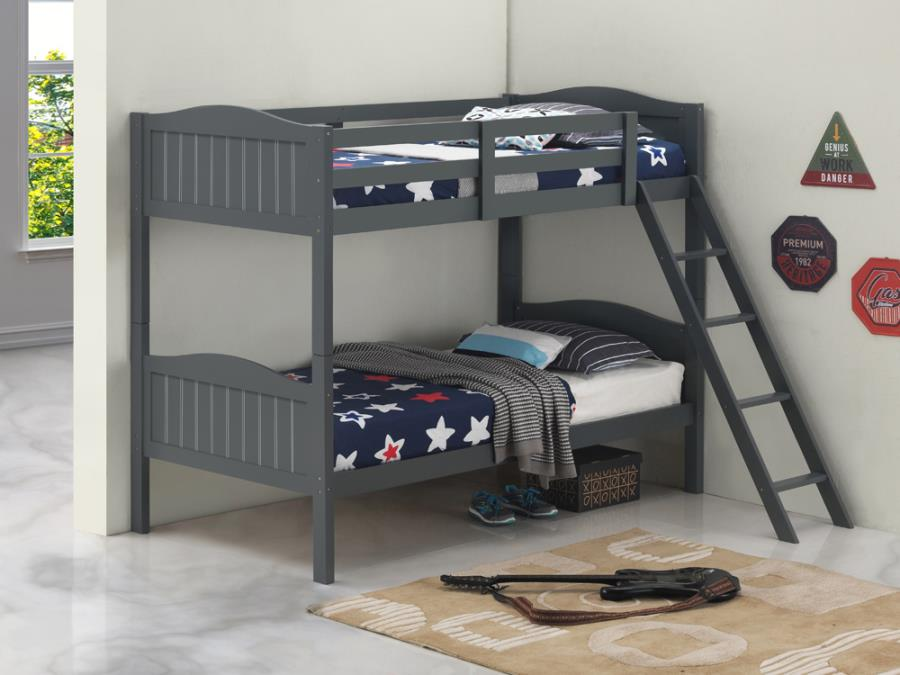 405053GRY Taylor & olive mayapple grey finish twin over twin bunk bed set