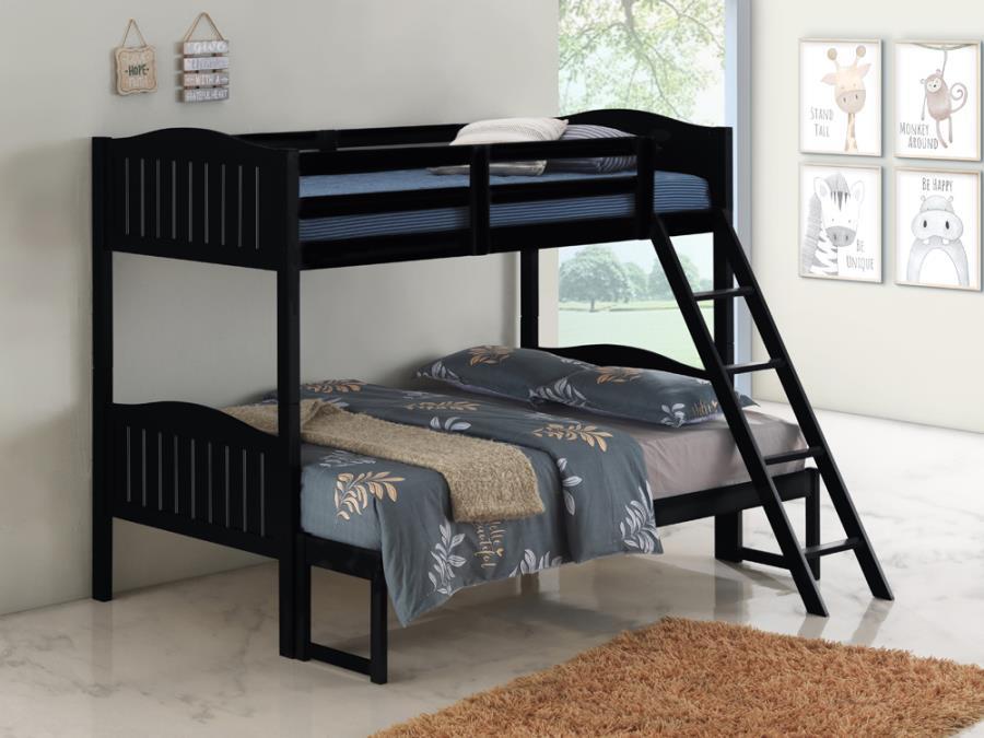 405054BLK Taylor & olive mayapple black finish twin over full bunk bed set