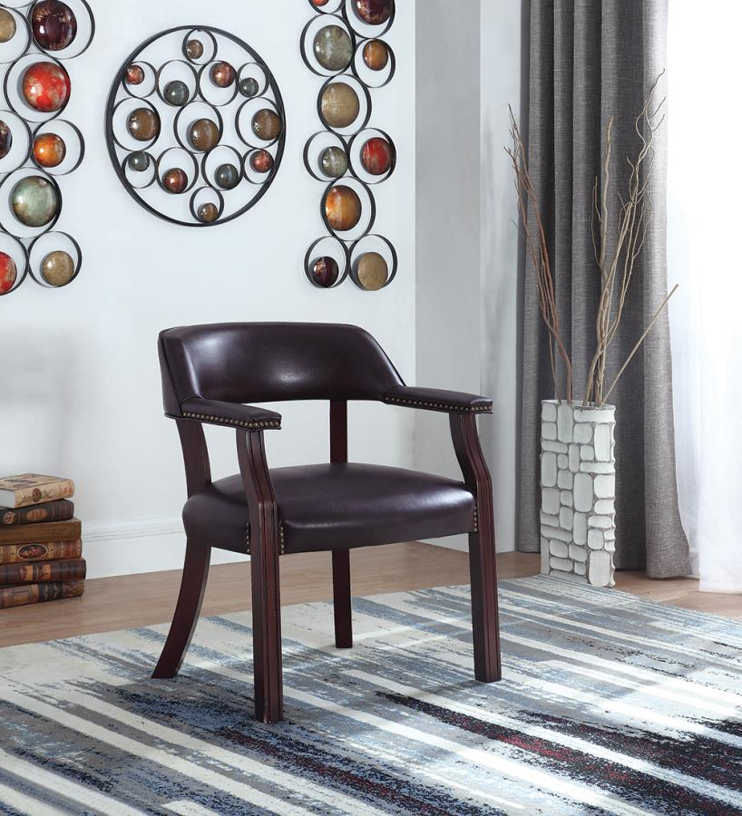 413BRN Charlton home walford brown vinyl seat , back and arms captains guest chair espresso finish wood