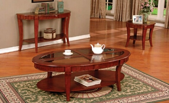 4227 3 pc Cherry finish wood contemporary style oval coffee table and end tables with glass inserts