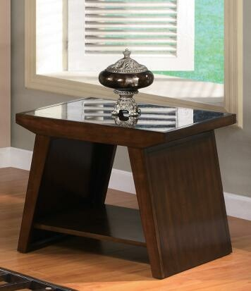 AD-4239E Midori dark brown cherry finish wood end table with lower shelf and glass top with slatted design