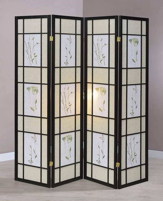 4407 Charlton home reda 4 panel black wood frame and floral print panels room divider shoji screen