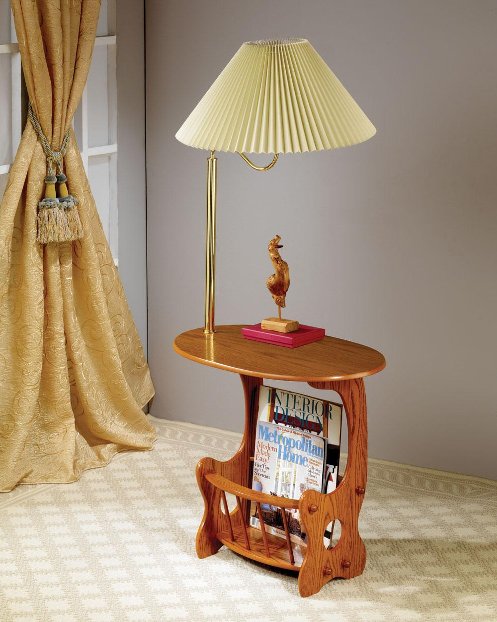 CST4501 Oak finish wood side table with magazine rack and built in brass finish lamp