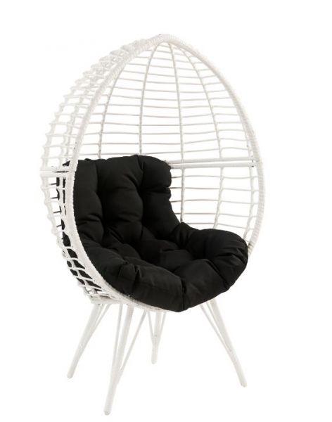 Acme 45109 Bayou breeze leonard galzed teadrop patio chair black fabric white wicker/rattan