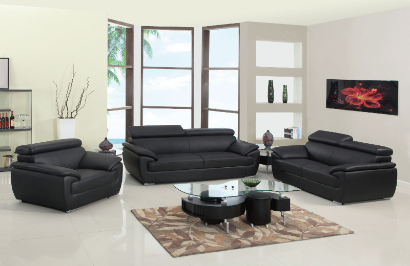 4571BL-2PC 2 pc Orren ellis sheila modern style black genuine leather sofa and love seat set