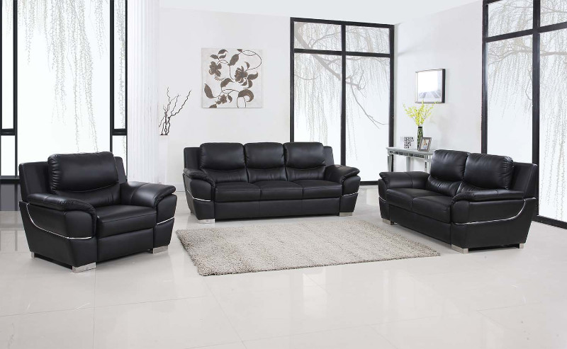 4572bk 2pc 2 Pc Latitude Run Huckleberry Modern Style Black Genuine Leather Sofa And Love Seat