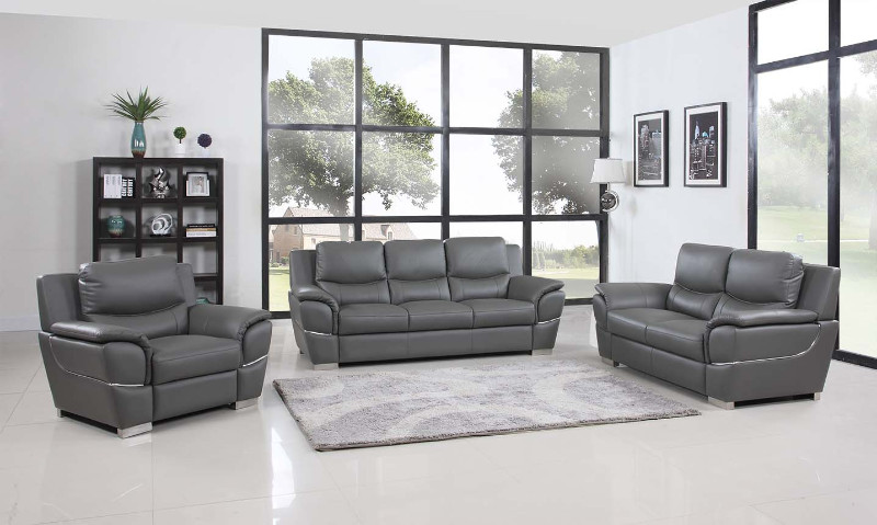 2 pc United collection modern style grey genuine leather upholstered sofa and love seat set