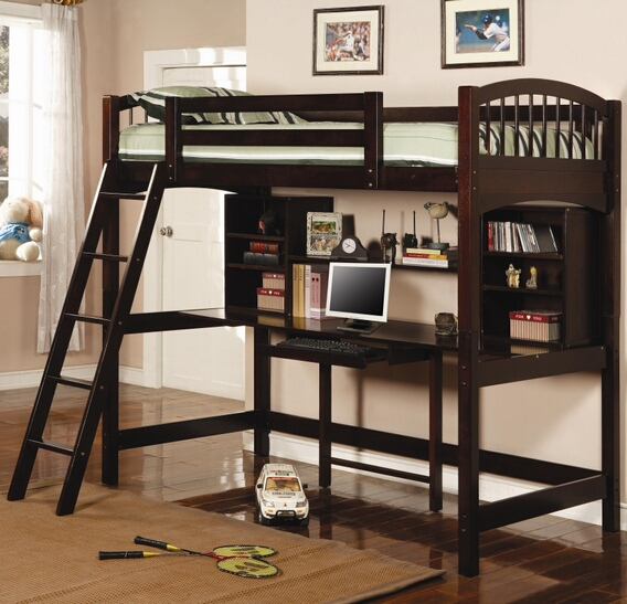 CST460063 Espresso finish wood Twin loft bunk bed with computer workstation underneath
