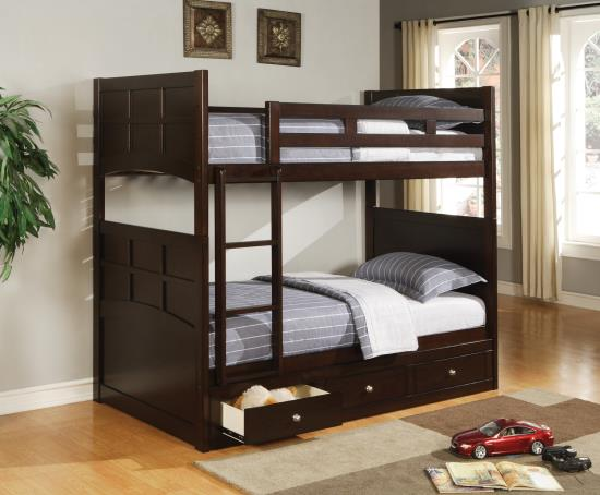 460136 Wildon home jasper espresso finish wood twin over twin bunk bed set with panel ends