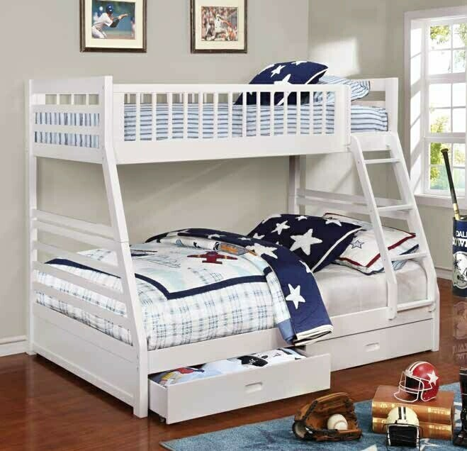 CST460180 Ashton collection white finish wood twin over full bunk bed with storage drawers