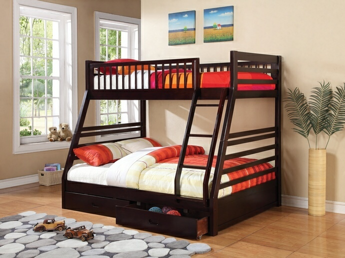 CST460184 Cooper collection espresso finish wood Twin over full bunk bed set with storage drawers, made with select hardwoods