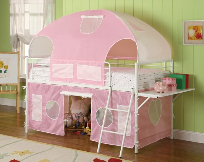 CST460202 Sweetheart twin loft bed with white frame and pink tented play area and canopy