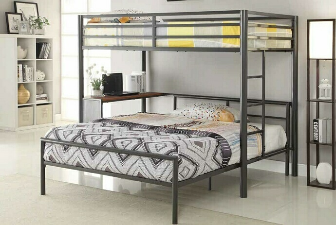 460229-300279T Harriet bee nedra dark gunmetal finish metal frame twin over twin bunk bed with desk