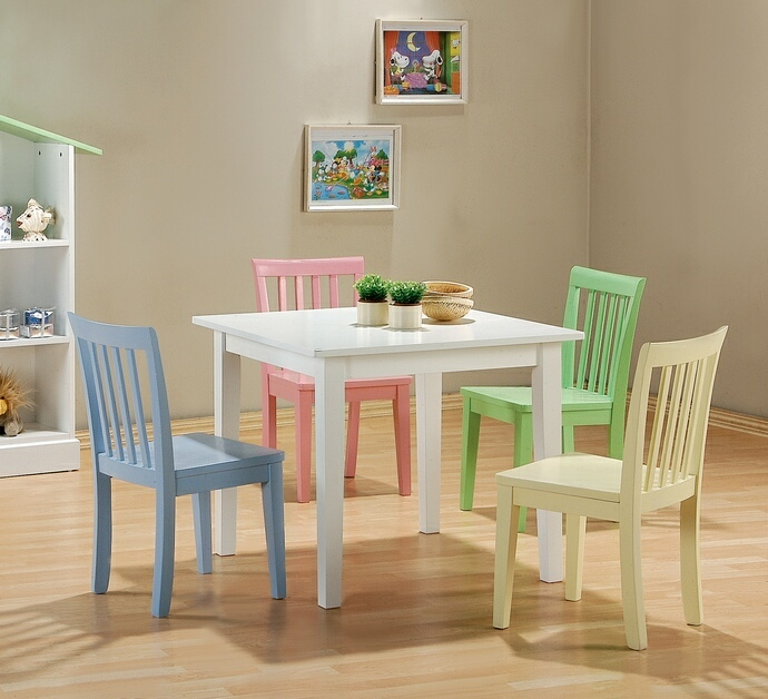 460235 5 Pc Kids Play Table Set With Multi Color Chairs And White Finish  Wood Table