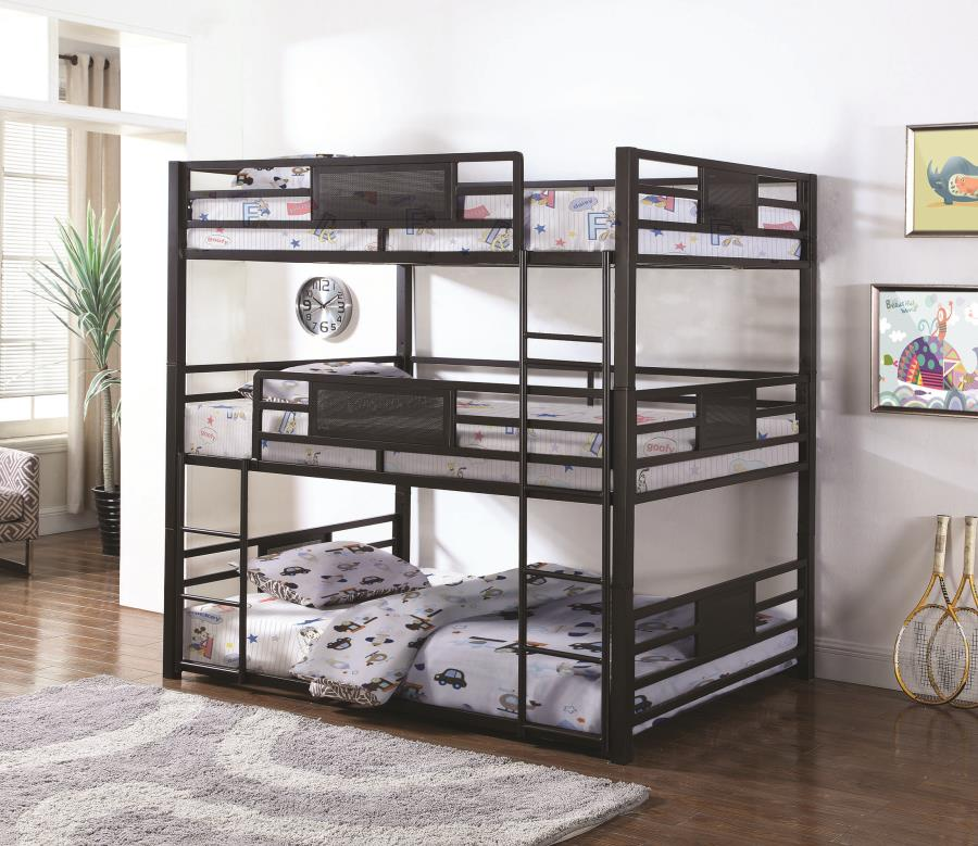460394F Harriet bee luverne triple Full/Double dark bronze metal triple full over full over full bunk beds