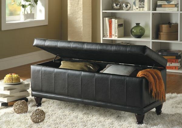 HE-4730PU Afton collection brown bycast vinyl upholstered storage ottoman bench with tufted seat