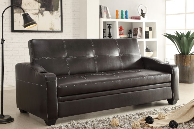 Home Elegance 4829DB Caffery dark brown leather like vinyl folding futon sofa bed